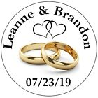 GOLD RINGS WEDDING BRIDAL SHOWER TAGS STICKERS LABELS FOR YOUR FAVORS