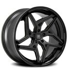 4 set 20 Staggered Lexani Wheels Spyder Satin Black w Black Lip Rim FS
