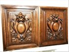 Solid pair gothic coat of arms panel Antique french walnut architectural salvage