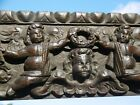 SUPERB 18thc EARLY OAK CARVED PANEL WITH THREE CHERUB PUTTIS IN RELIEF