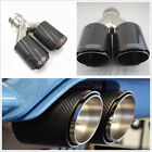 76 101mm Glossy Black 100 Carbon Fiber+Steel Car Exhaust Dual Pipe Tail Muffler