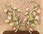 Vintage Shabby Chic Italian Toleware Floral Wall Sconces Candleholders