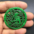 Chinese old natural jade hand-carved statue pendant 12