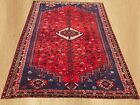 Authentic Hand Knotted Vintage Persian Sheraz Wool Area Rug 9 x 7 FT (7557)