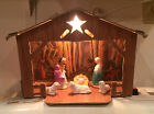 VINTAGE CARDBOARD LIGHT UP NATIVITY MARY JOSEPH BABY JESUS 8 TALL
