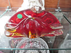 Red Amber Glass Wave Candy Dish Italian Murano Style