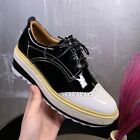 Womens Vintage Brogue Carved Lace Up Wedge High Heels Platform Shoes Oxfords