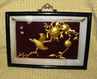 METAL SCULPTURE CHINESE DIORAMA WITH GOLD BIRDS ON BRANCH OF FRUIT TREE ~ SIGNED