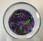 SIGNED ROLLIN KARG PAPERWEIGHT DISC 2001 DICHROIC GLASS  PINWHEEL DECORATION