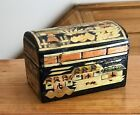 CARVED WOOD MARQUETRY BOX HINGED LACQUER TREEN TRINKET JEWELRY WOOD INLAY VINTAG