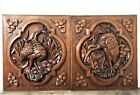 Pair bird hunting scene panel Antique french oak carving architectural salvage