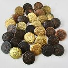 Asmt. of 34 Vintage Military Great Seal Brass Buttons w Backmarks, 1 1/8