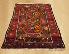 Authentic Hand Knotted Vintage Persian Hamadan Wool Area Rug 4 x 3 FT (6271)