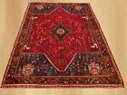 Hand Knotted Persian Vintage Pictorial Sheraz Wool Area Rug 8 x 6 FT (7551)