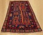 Amazing Hand Knotted Vintage Afghan Balouch Pictorial  Wool Area Rug 5 x 3 FT