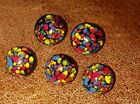 ANTIQUE/VINTAGE 5 GLASS PAPERWEIGHT STYLE BUTTONS- 2 Large--3 Medium