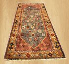Authentic Hand Knotted Vintage Azerbaijan Wool Area Runner 5 x 2 Ft (6621)