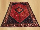 Authentic Hand Knotted Vintage Persian Sheraz Wool Area Rug 10 x 7 FT (7569)