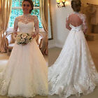 Women White Wedding Dresses Full Lace Long Sleeve Dress Backless Bridal Gowns US