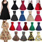 Womens 50S 60S ROCKABILLY Hepburn Style Swing Pinup Retro Housewife Party Dress