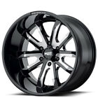 New4 22 Moto Metal Wheels MO983 Dagger Gloss Black Milled Off Road Rims FS