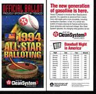 1994 TEXACO BASEBALL ALL STAR GAME BALLOT Unpunched  MINT