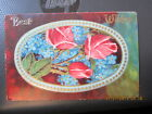 vintage postcard BEST WISHES oval with BLUE FLOWERS  PINK ROSES unused