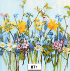 871 TWO Individual Paper Luncheon Decoupage Napkins SPRING CUT FLOWERS