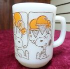 Vintage Fire King Snoopy Sweet Dreams Peanuts Coffee Mug Orange Milk Glass