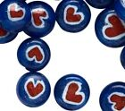 15 OZ Lampwork Glass Red White  Blue 8mm Heart Beads 80 90 Beads