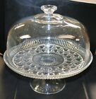Vintage Indiana Glass Windsor Diamond Covered Cake Stand New in Box Excellent !