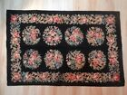 Vintage Wool Needlepoint Rug  approx 3'  x  2' Pink Floral Black Ground Ex Cond