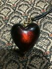 ORIGINAL GLASS PUFF HEART NECKLACE GOLD MADE IN ITALY JEWELRY LADIES LOVELY