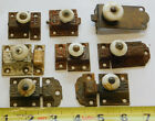8 Antique Cast Iron Cabinet Cupboard Latches Eastlake Porcelain Knobs Slide Keep