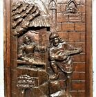 Gothic medieval gallant scene panel Antique french wooden salvaged paneling