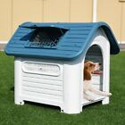 New Plastic Pet Dog House Puppy Shelter w Skylight Blue