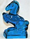 Vintage L E Smith Glass Blue Rearing Horse Bookend Figurine Excellent !