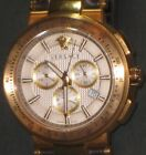 Versace Men's Chronograph Watch Gold Brown Leather Sapphire Crystal Swiss Made