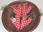 4 Primitive Red Valentine LOVE YOU MORE Hearts Bowl Fillers Ornies Ornaments