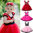 Flower Girl Kids Baby Minnie Mouse Polka Dots Party Birthday Tulle Tutu Dresses