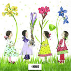 1005 TWO Individual Paper Luncheon Decoupage Napkins GIRLS FLOWERS SPRING