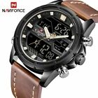 NAVIFORCE Mens Sport Leather Military Waterproof Analog & Digital Quartz Watches