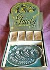 8 pc WHEAT SNACK SET VTG CLEAR GLASS PLATES CUPS IN GAIETY COLONY CRYSTAL BOX