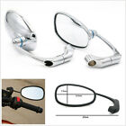 2 Pcs Custom Universal Left+Right Silver Retro L-Bar Motorcycle ATV Side Mirrors