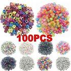 100xRandom Alphabet Letter Acrylic Cube Spacer Loose Beads Jewelry Making DIY