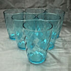 Vintage Libbey TIARA Optic Swirl Aqua Blue Set of 6-4 1/8