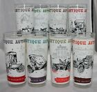 8 Vintage Anchor Hocking GLASSES tumblers antique cars auto  Barware
