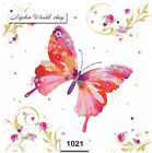 1021 TWO Individual Paper Luncheon Decoupage Napkin BUTTERFLY FLOWERS SPRING