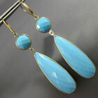 EXTRA LARGE AAA TURQUOISE 14KT YELLOW GOLD TEAR DROP LEVER BACK HANGING EARRINGS