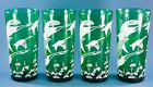 Vtg Anchor Hocking Glasses Forest Green Canadian Geese Tumblers Lot of 4  6 3/4
